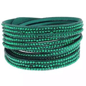 Green rhinestone vegan leather wrap bracelet NEW